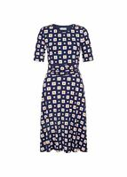 Hobbs Bayview Fit & Flare Dress Blue Multi Size UK12 RRP89