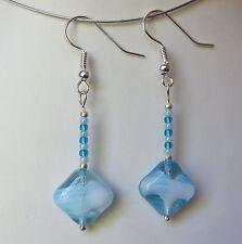 Aqua glass fashion hook earrings E124