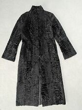 Black Reversible Broadtail Sheepskin Karakul Astrakhan Long Fur Coat Sz. 8-10