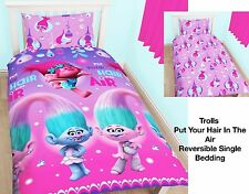 Trolls Glow Single Duvet Cover Set Rotary Pink Purple Girls Bedding