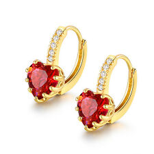HUCHE Luxury Heart Red Sapphire Ruby Crystal Gold Filled Women Party Earrings