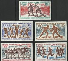 Congo 1971 C128-132 Summer Olympics Proof Imperf Wrestle Boxing Running MNH