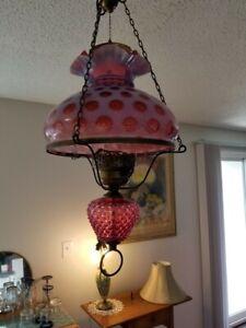 Vintage Fenton ? Coin Dot Glass Chandelier  Lamp Cranberry Opal Light Fixture