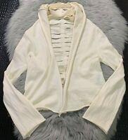PIER ANTONIO GASPARI Ivory WOOL CARDIGAN SWEATER Jacket Shredded Sz 6 Made Italy