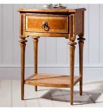 French Finest Rattan, Ash & Walnut Wood 1 Drawer Bedside Table / Cabinet