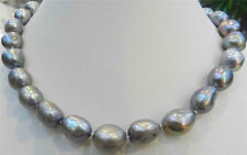 "10-12MM SILVER GRAY Freshwater Baroque PEARL NECKLACE 18""AAA"