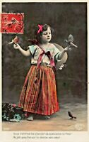 CUTE YOUNG GIRL~COLORFUL DRESS-RIBBONS-HOLDING BIRDS~1908 FRENCH PHOTO POSTCARD