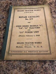 Original Vintage 1941 John Deere Model L LA LI LU Tractor Repair Manual Catalog