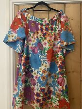 H & M Multicoloured Floral Bardot Dress Size 12