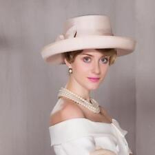Womens Kentucky Derby Church Wedding Noble Dress linen feather organza hat