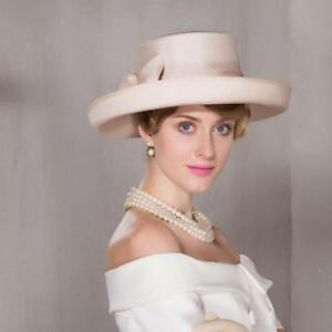 Womens Kentucky Derby Church Wedding Noble Dress linen feather organza hat