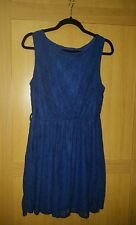 Gorgeous ladies Size 14, Royal Blue Stretch Lace lined Skater Dress NEW
