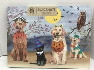 NEW Benson Mills HALLOWEEN Hard Placemats w/ Cork Backing Dogs Cats Costumes