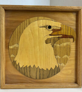 """Handcrafted Wood Inlay Moasic Americana Eagle Head Plaque 12"""" x 12"""""""