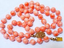 VINTAGE CHINESE NATURAL ANGEL SKIN CORAL BEAD NECKLACE, 29 grams, silver clasp