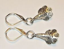 Lily Flowers & Sterling Silver Plated Leverback Earrings ~* Sundance Artisan