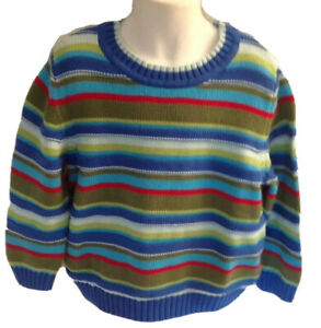 HANNA ANDERSSON 110 4-6 Y Blue Red Olive Striped Cotton Sweater LN