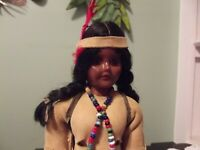 VINTAGE 1950's NATIVE AMERICAN INDIAN DOLL GIRL 7 1/2""