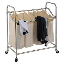 Heavy-Duty 4-Bag Laundry Sorter Rolling Cart Hamper Organizer Beige 4 Wheels