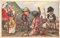 Cartolina - Illustrata - Bertiglia - Etiopia - Balilla e piccoli indigeni - s518