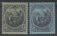 BARBADOS 1921 KGV SEAHORSES 1/- AND 2/- WMK MULTI SCRIPT CA
