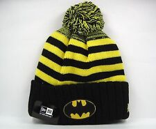 New Era Homme DC Comics Batman rayures Knit Beanie Bobble Hat-Taille Unique
