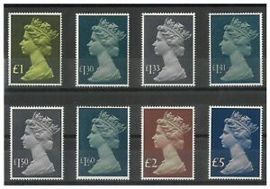 Great Britain 1977-87 Large Size High Value QE Machins Set/8 Stamps MUH 16-16