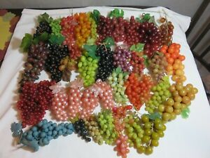 Large Lot of 38 Vintage Faux Rubber Grape Clusters Bunches Variety Colors Decor