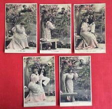 CPA. Série de 5 Cartes. LE BILLET DOUX. Amour. Échelle. Banc. 1905