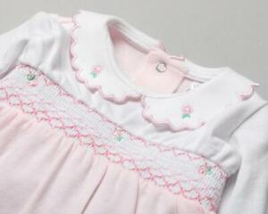 Baby girls Spanish style smocked roses baby grow 0-3 3-6 6-12 months