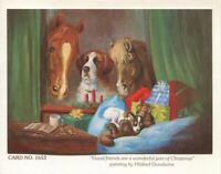 VINTAGE CHRISTMAS PALOMINO HORSE ST BERNARD DOG CAT BIBLE HILDRED GOODWINE CARD