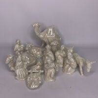 Vintage Iridescent Nativity Set Bisque Porcelain China Delicate NON Smoking Home