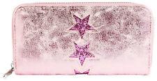 Damen Geldbörse Brieftasche Geldtasche Stern Sterne Pink Rosa Quer Stars Star