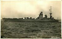 HMS Rodney RPPC postcard real photograph Royal Navy military antique