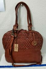 New Harbor 2nd Vintage Washed Brown Woven Leather Women's Large Satchel Bag