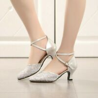 Lady Latin Dance Shoes Womens Mesh Ballroom Tango Cha Cha Shoes Low-heeled Chic