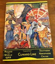 Original 1933 Round The World Cunard Line Cruise Ship Illustrate Guide Itinerary