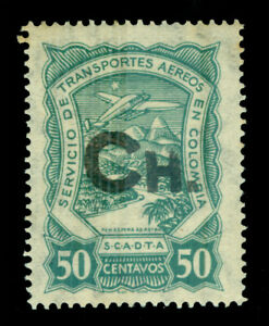 """COLOMBIA 1923 AIRMAIL - SCADTA - CHILE """"Ch."""" handstamp 50c grn Sc# CLCH6 mint MH"""