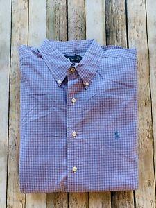 Ralph Lauren Button Down Shirt Mens XL Classic Fit Purple Plaid