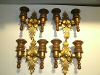 Vtg 4 Double Sconces Wood & Metal Candle / Votive Holder Wall Decor Homco