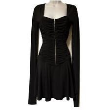 LUISA SPAGNOLI Italian Designer Y2K Mini Dress Draped LBD Goth Cocktail UK 6/8