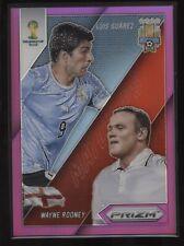 2014 WORLD CUP Prizm PURPLE Chrome Refractor #9 Luis Suarez VS Wayne Rooney! /99