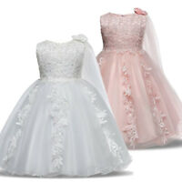 Flower Girls Dress Formal Princess Baby Kids Wedding Bridesmaid Party Tulle Gown