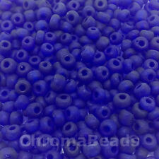 50g vetro SEMI PERLINE-DEEP BLUE SATINATO-circa 4 mm (size 6/0) Artigianato