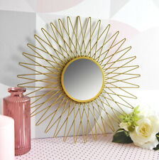 Modern Contemporary GOLD SUN Metal WALL MIRROR 30cm