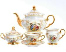 "Czech Porcelain Tea Set, ""Madonna"", 15 pc New!"