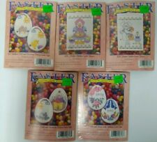 Easter Cross Stitch Counted Lot of 5 Chicken Bunny Eggs Lamb Banner Violets Rose