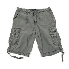 BUFFALO Cargo Shorts Size 33 Adult Relaxed Crinkle Distressed Gray Vintage Wash