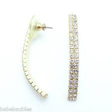 "Gold Gp Crystal Rhinestone Earring 1 3/4"" Long Dangle Pierced Bridal Prom New"