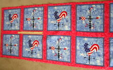 FABRIC QUILT PANEL 8 PILLOW TOPS PATRIOTIC AMERICANA MILITARY USA FLAGS COTTON